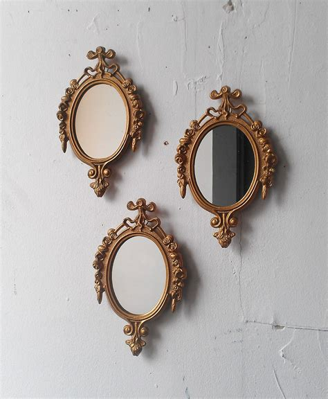 small decorative wall mirror set gold framed mirror set of three in small ornate vintage frames