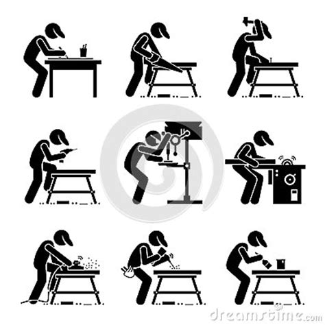 setting drills one person carpenter woodworking clipart stock vector image 68204006