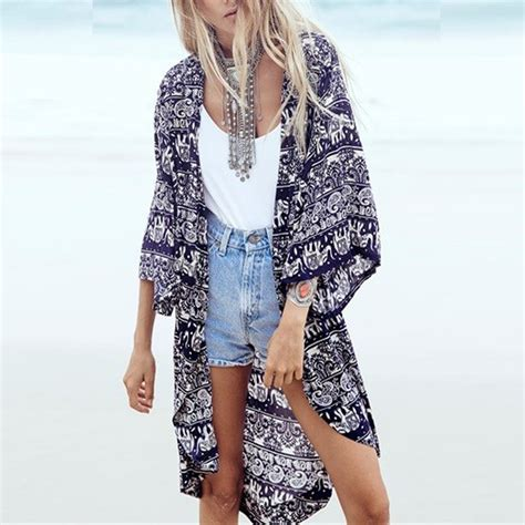 kimono jackets as a summer fashion trend for women over 60 s 6xl 2016 fashion women summer blouse beach boho kimono