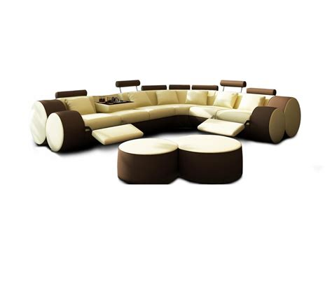 sofa ottomans dreamfurniture com 3087 modern beige and brown leather