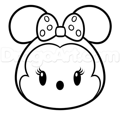 minnie mouse tsum tsum coloring page how to draw tsum tsum minnie mouse step by step disney
