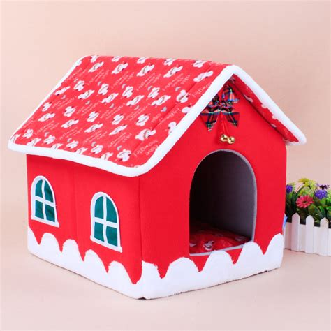 christmas dog house washable winter warm christmas dog cat bed house dog nest with bow and bell soft
