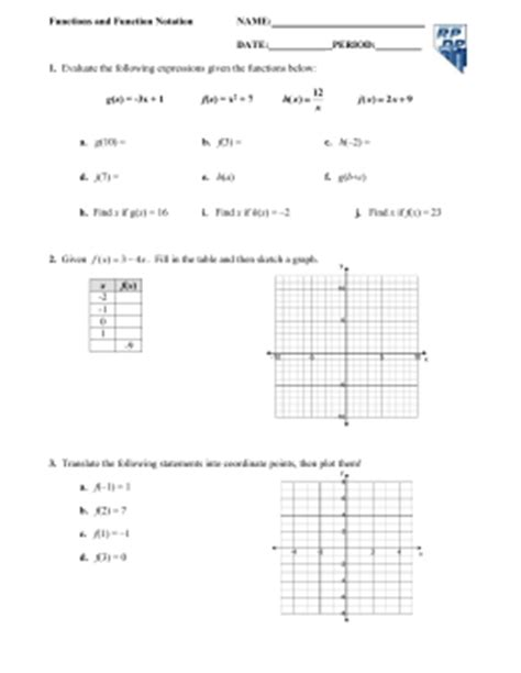 Function Notation Worksheet by Function Notation Worksheet Bluegreenish