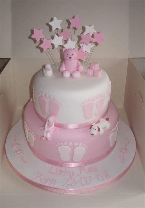 Pink Christening cake with stars
