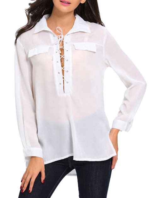 High Low Lace Up Shirt White L high low lace up sleeve shirt in white m sammydress