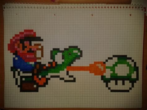 Drawing 8 Bit Characters by Graph Paper Drawing Pencil Drawing