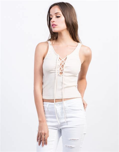 knit lace up tank top ribbed tank top lace up crop top