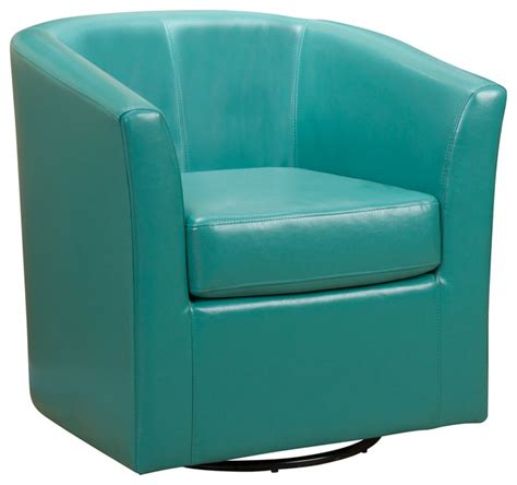 turquoise leather swivel chair corley tea green leather swivel club chair contemporary