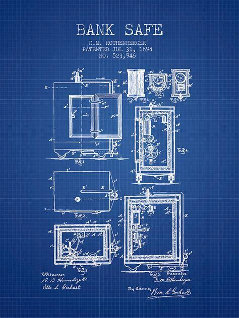 Online Floor Plan Drawing 1894 bank safe patent blueprint digital art by aged pixel