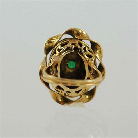 blue enamel cabochon emerald yellow gold ring for sale at