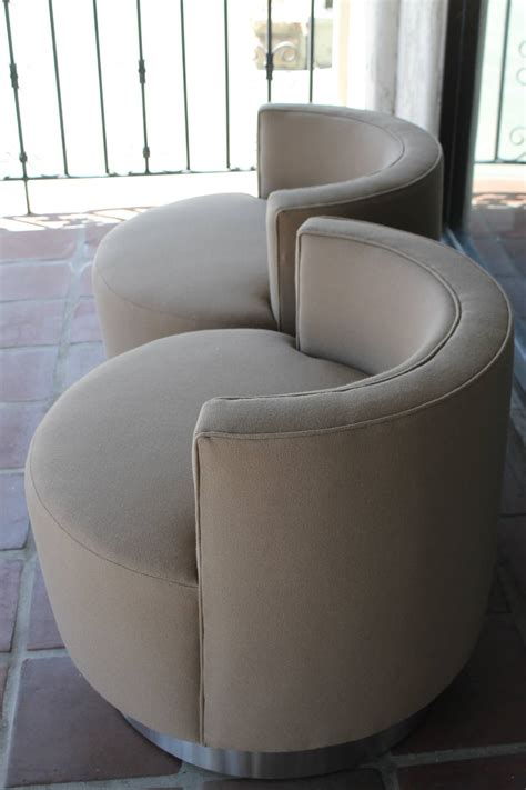 Pair Of Swivel Barrel Chairs In The Style Of Milo Barrel Style Swivel Chair