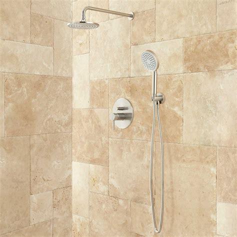 lattimore shower system with rainfall shower head amp hand