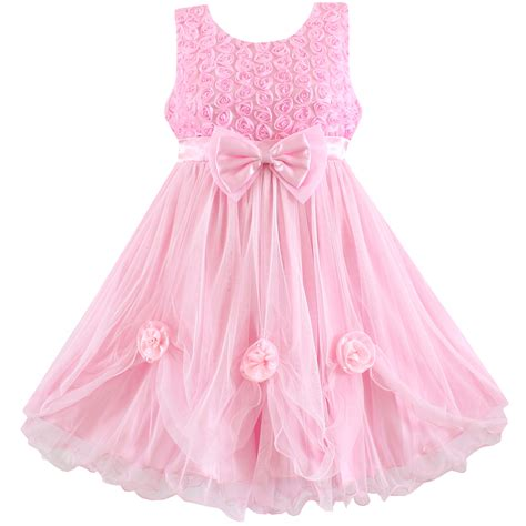 D8090 Dress Pink Flower 2016 dress pink flower bow lace wedding pageant bridesmaid princess child