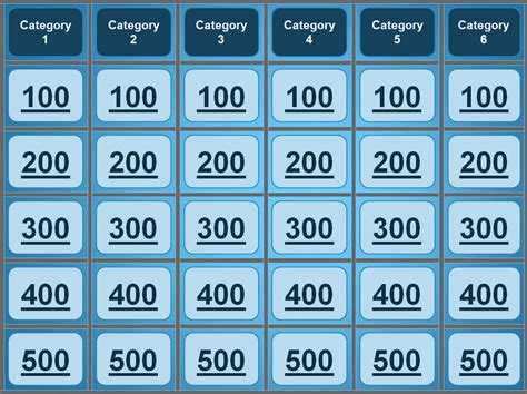 Jeopardy Printable Template jeopardy powerpoint template great