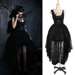 Designer black lace high low victorian gothic fashion party dresses