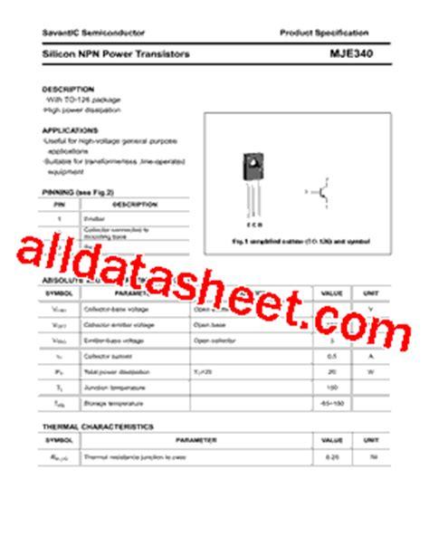 transistor mje340 datasheet mje340 datasheet pdf savantic inc
