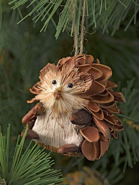 natural christmas ornaments hedgehogs set of 3