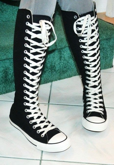 Lace Up High Top Sneakers 2014 knee high converse sneaker boots black converse high