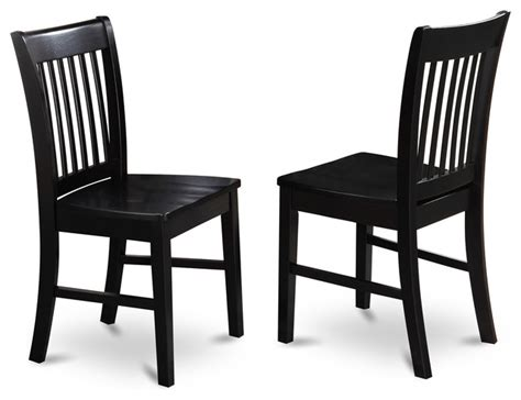 Set Of 2 Norfolk Dining Chair Wood Seat Black Finish Transitional Dining Chairs