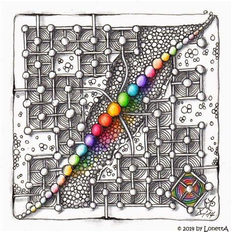 zentangle pattern quipple lonetta challenge 188 rainbow colours zentangle