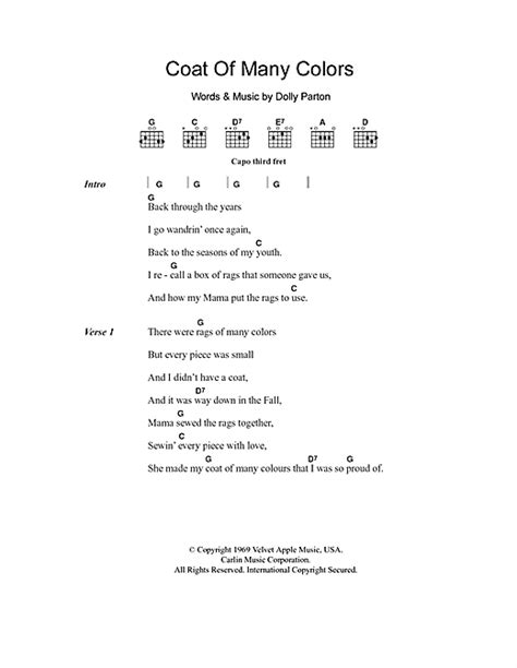 coat of many colors chords coat of many colors sheet by dolly parton lyrics