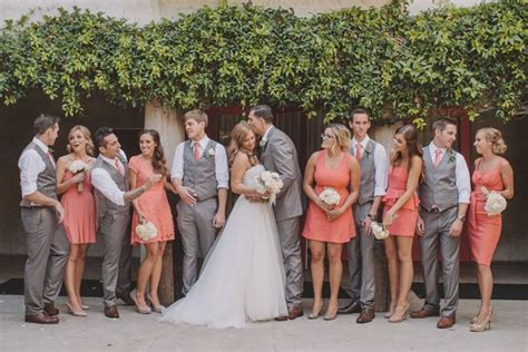 Peach Pantone by Peach Coral And Grey Wedding Palette Wedding Colors