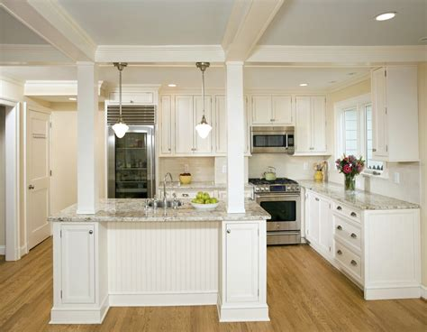 Kitchen Center Island load bearing columns kitchen with bookcase columns cream