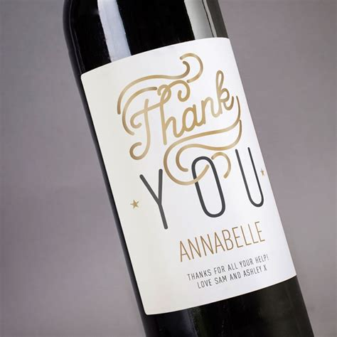 thank you letter wine gift personalised wine thank you white label
