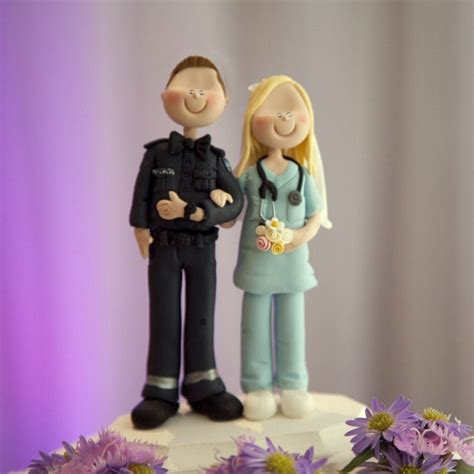 Handmade Cake Topper - wedding cake topper paramedic and by
