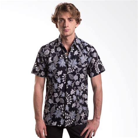jual batik trusmi hem katun motif bunga kapas hitam baju batik pria harga kualitas