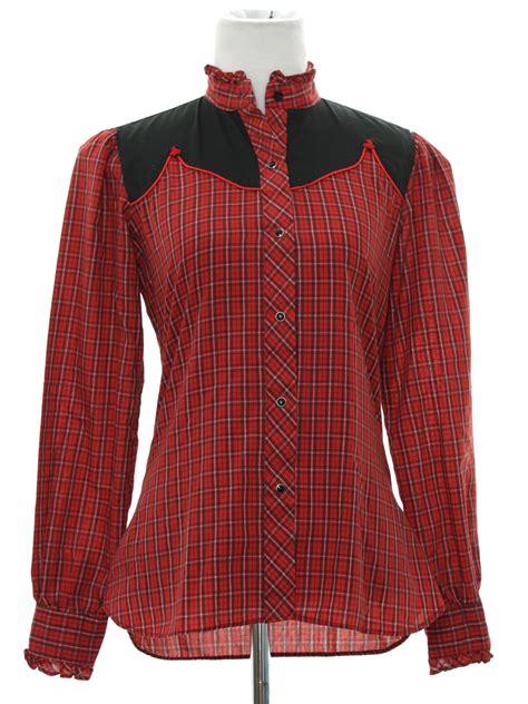pattern western shirt 70s retro western shirt 70s karman petite womens red