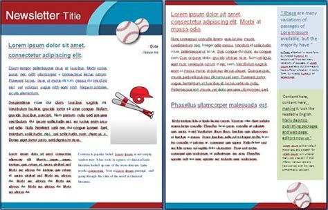 event newsletter template sports baseball template for a school sports