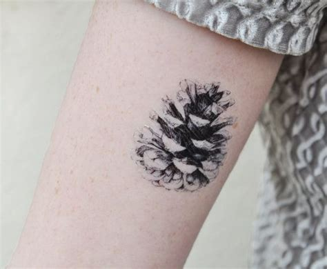pine cone tattoo pine cone temporary temporary black and