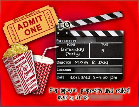 movie birthday party invitations wblqual com