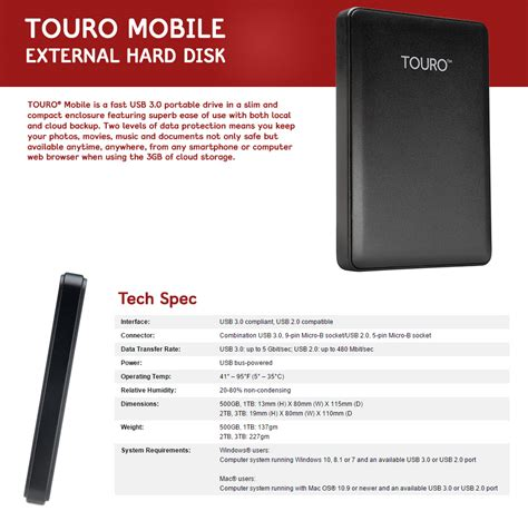 Harddisk External Hitachi Touro 1tb touro hgst hitachi mobile portable external drive