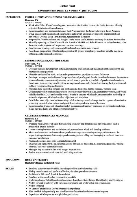 sales manager senior sales manager resume sles