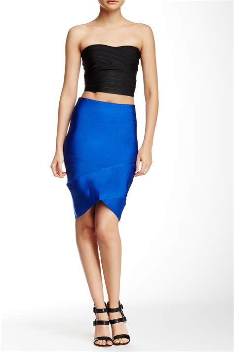 wow couture bandage pencil skirt in blue royal blue lyst