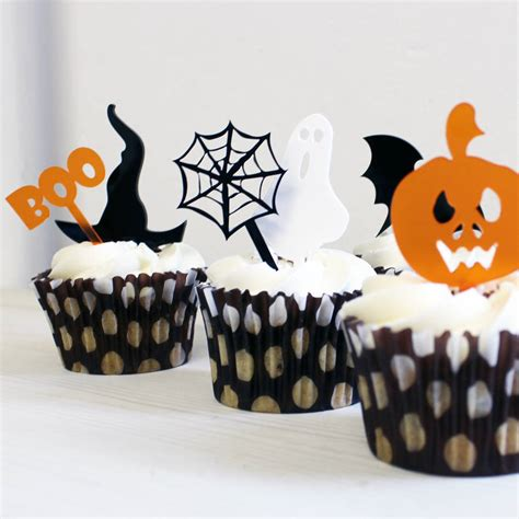 halloween mini cake toppers set    rocket  fox notonthehighstreetcom