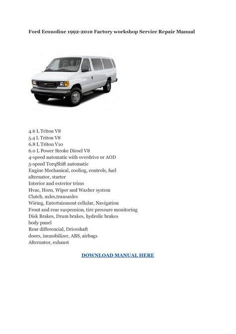 motor auto repair manual 1992 ford e series interior lighting ford e series 250 archives service repairs