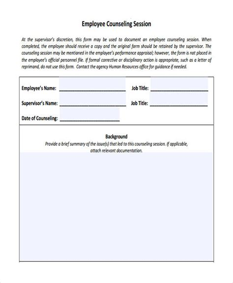 employee counseling form template employee counseling form template business