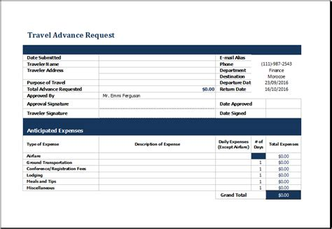 ms excel travel advance request form template excel