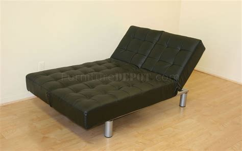3 position futon black chocolate or white leatherette multi position sofa bed