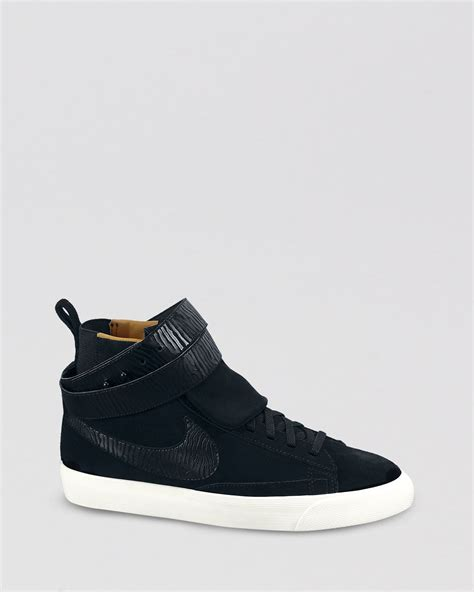 nike shoes high tops nike high top sneakers blazer twist suede in black lyst