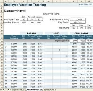 vacation tracker template vacation accrual and tracking template with sick leave accrual