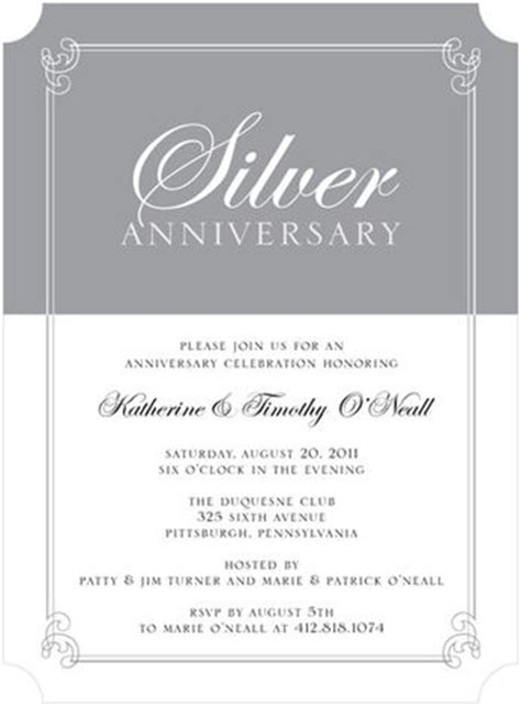 25th anniversary invitations templates gray and white silver themed anniversary formal