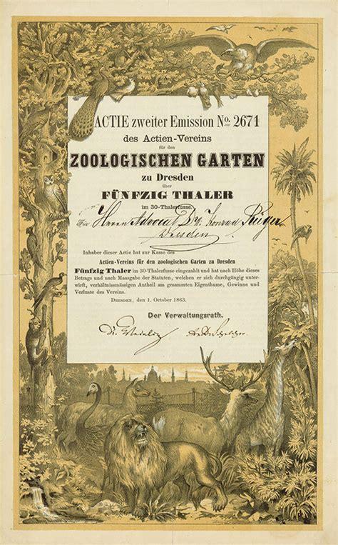 Zoologischer Garten Berlin Aktie by Historische Wertpapiere Themenwelt Zoos Und Tierg 228 Rten