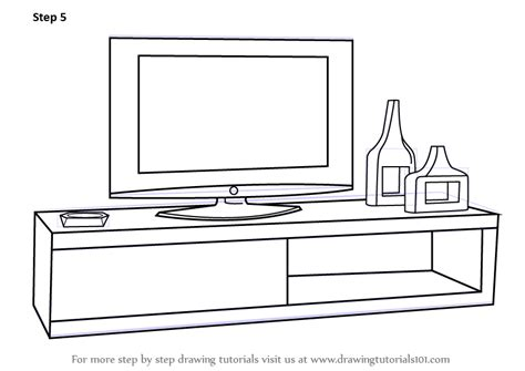 learn how to draw kitchen cabinets furniture step by learn how to draw tv unit furniture step by step