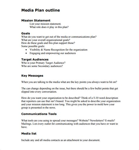media plan template sle media plan template 6 documents in pdf