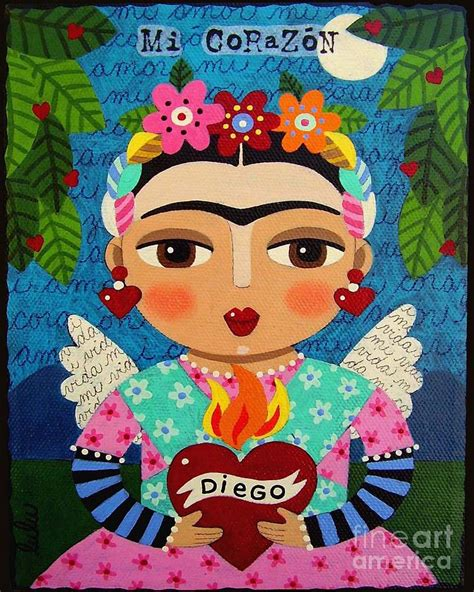 Loteria Shower Curtain by Frida Kahlo Angel And Flaming Heart Painting By Lulu
