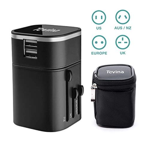 Travel Adapter Universal 2port Usb 1a travel adapter tevina two usb ports universal world wide